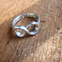 Custom Engraving Infinity Silver Ring - Handmade sterling silver ring.