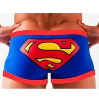 New Man's Cartoon Superman Boxers Briefs Trunks Underwear Boyshorts Size L Waist Size 26.5