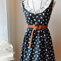 Cute Kitsch Black and White Bird Cream Lace Dress (Choose your Size)