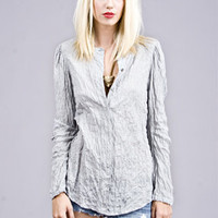 ELIAS GATHERED SLEEVE SHIRT - ELAINE KIM - SHIRTS & BLOUSES