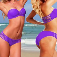 Hot Lady Women Padded boho Top Strapless Purple SEXY bikini Swimwear Swimsuits S