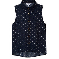 Teens Navy Polka Dot Sheer Sleeveless Shirt