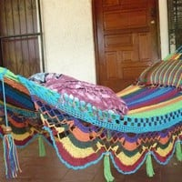 Hammocks Beautiful Turquoise Double Hammock handwoven by hamanica