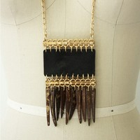 Coconut and Leather Necklace - Black/Cocoa