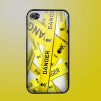 Hot Caution Danger Sign Apple iPhone 4 Hard Case by fullncreative