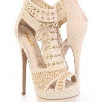 Beige Gold Faux Suede Spike Studded Cut Out Platform Heels @ Amiclubwear Heel Shoes online store sales:Stiletto Heel Shoes,High Heel Pumps,Womens High Heel Shoes,Prom Shoes,Summer Shoes,Spring Shoes,Spool Heel,Womens Dress Shoes,Prom Heels,Prom Pumps,High