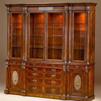 Elite furnishings. Mahogany dining room breakfront or library bookcase.