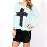 Mint Cross Dolman Sweater