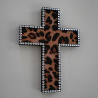 ANIMAL PRINT & BLING Wall Cross - Handpainted wood cross w/ cheetah print eco felt and clear rhinestones