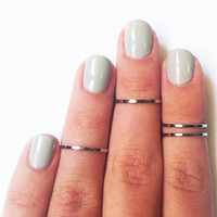 4 Above the Knuckle Rings - chrome silver plated thin shiny bands - set of 4 stack midi rings