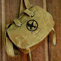 Vintage Linen Czech Military Bag Hand Painted by clpstudio on Etsy
