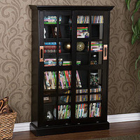 Black Sliding Door Bookcase and Media Cabinet | Living Room Furniture| Furniture | World Market