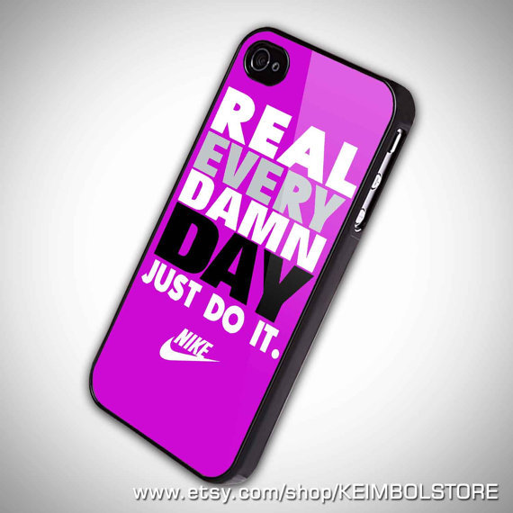 Real Damn Day Just Do It, Purple iPhone 5 Case, iPhone 4 Case, iPhone 4s Case, iPhone 4 Cover, Hard iPhone 4 Case