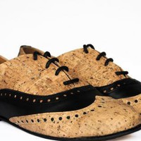 Multi Flats - Cork Oxford Shoes | UsTrendy