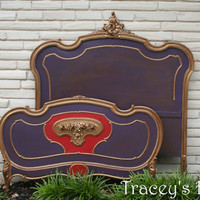 "Custom Painted Vintage Antique Full Bed ""Moulin Rouge"" - MADE TO ORDER"