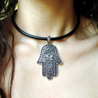 Hamsa Necklace, Black Leather Cord Choker Necklace