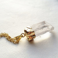 Raw Crystal Quartz Point Necklace -- G:b