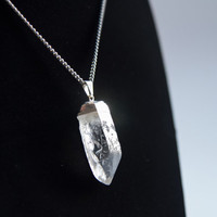 Raw Crystal Necklace, Clear Quartz Point Necklace, Raw, Natural Silver SQ313