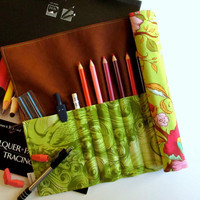 Pencil Roll, Art Organizer Roll-Up, Tula Pink Plume, Floral