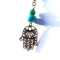 Hamsa Necklace with green blue turquoise, long necklace, bohemian jewelry