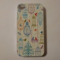 Hard Apple iPhone Case Vintage Birds Pattern by CreateItYourWay