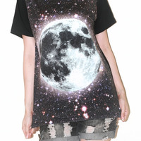 Full Moon Star Universe Galaxy Black Photo Transfer Women Short Sleeve Shirt Art Punk Rock T-Shirt Size M