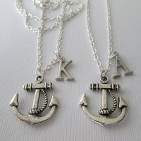 2 Silver Anchor Initial Best Friends Necklaces by HazelSarai
