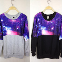 Free Shipping 2012 New Arrival Good Quality Mysterious Purple Sky Galaxy Star Loose Thin Woman Sweater / Hoody / Top Shirt-in Hoodies & Sweatshirts from Apparel & Accessories on Aliexpress.com ($20-50)