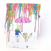 Adventure Time Inspired Painting -  Fionna and Cake - Pastels - Colors - Melted Crayon