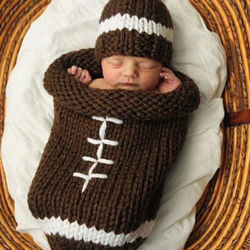 Knit Football Cocoon and Hat - Pattern from DancingTurtle on Etsy