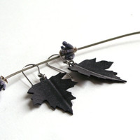 Leaf Dangle Earrings - Eco-friendly Inner Tube Hydrangea Earrings