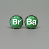 Silver Stud Post Earrings with Breaking Bad