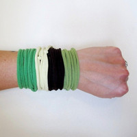 Fabric Cuff Bracelets - Eco Friendly Cotton Jersey Fabric Bracelets - Green, Brown, Pale Yellow