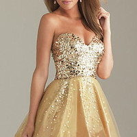 Gold Sequin Homecoming Bodice Short Bridal Prom Cocktail Party Evening Dress