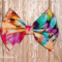 Oversized Tye Dye Hair Bow  Retro Style Bow for by craftycayce