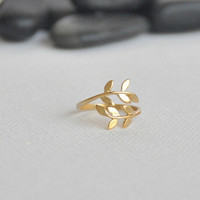 Gold Leaf Ring Laurel Leaf Ring Bay Leaf Ring Adjustable by matoto