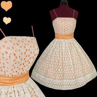 Vintage 50s White EYELET Peach FULL SKIRT Party Dress XS S Bridal Rockabilly VLV