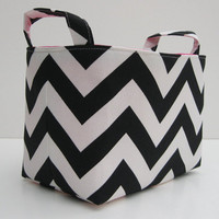 Fabric Organizer Bin Storage Container Basket  - Black and White Chevron