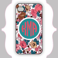 iPhone  Case- Coral/Teal Flower Monogram-iPhone 4 Case, iPhone 4s Case, iPhone 5 Case, Monogram Case, Personalized iPhone Case
