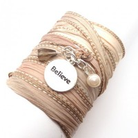 Silk Ribbon Wrap Bracelet with Believe Charm | charmed design