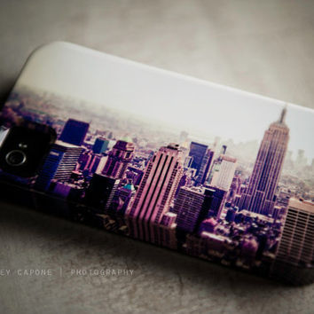 iPhone 5 case - New York City print, urban iPhone case - The City -  urban print, NYC design, eggplant, peach, iPhone 5
