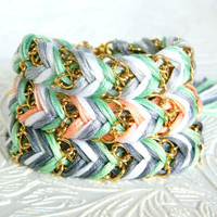 Mint Frosting - Pearl, Silver, Mint - Chevron Braided Modern Friendship Bracelet - Gold Chain