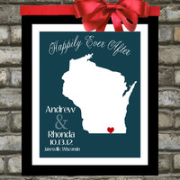 Wisconsin. Art. Map. Print. Personalized Gifts. His and Hers Wedding Gifts. Custom Bridal Shower Present . You Choose. Milwaukee Poster