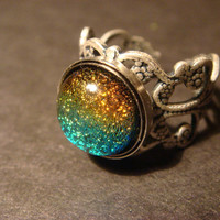Antique Silver Ox Dichroic Glass Galaxy Ring  - Adjustable ( 860)