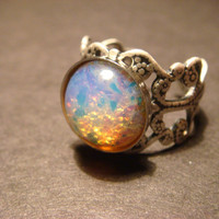 Fire Opal Antique Silver Filigree Ring- Adjustable (862)