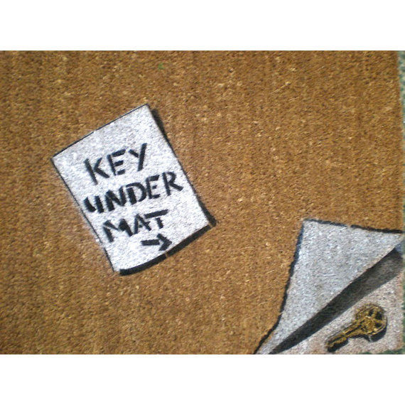 funny doormat Key Under Mat outdoor rug by damngooddoormats