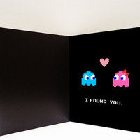 Pacman Ghost Girl Love Printable Card  (digital file)