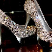 Silver Pumps / High Heels - &quot;Cinderella&quot; Swarovski Pumps | UsTrendy