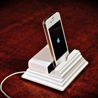 "The White ""mini Monument Stand"" docking station for iPhone, iPad mini, Kindle Fire, Galaxy Tab and other Android tablets"