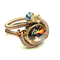steampunk wire ring  steampunk jewelry swarovski por keoops8